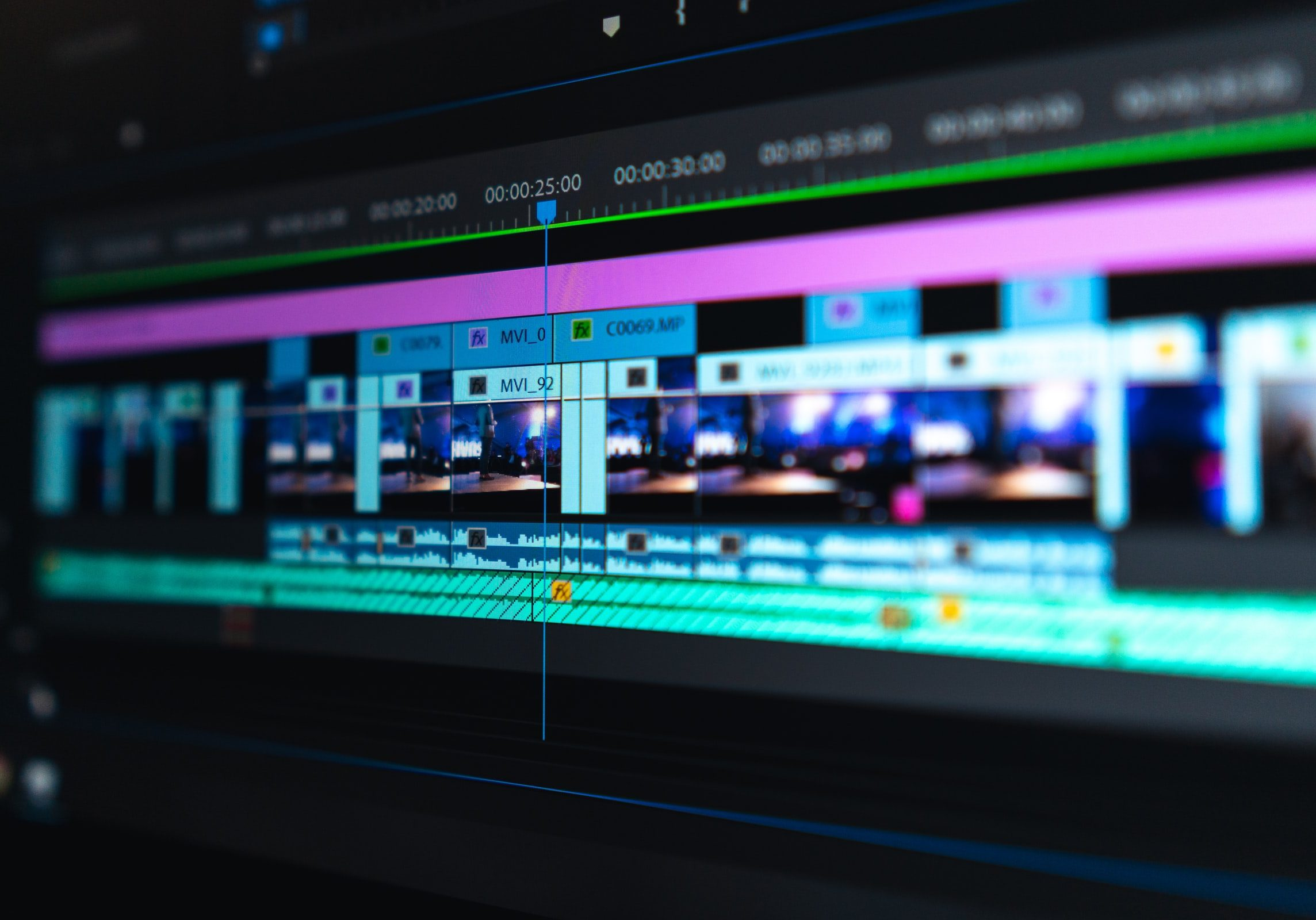 Photograph of video production project open in video editing software