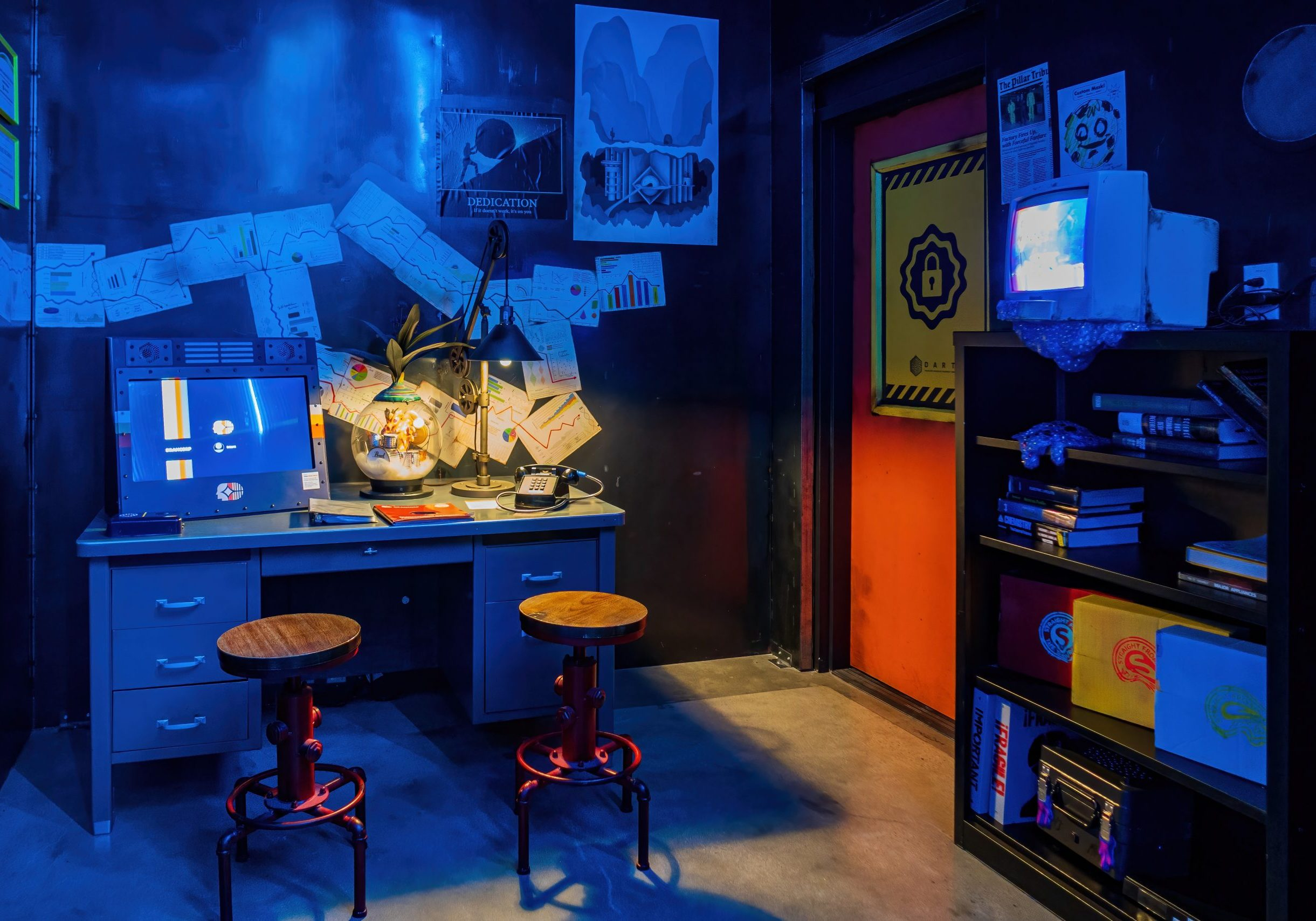 Photograph of an escape room puzzle room